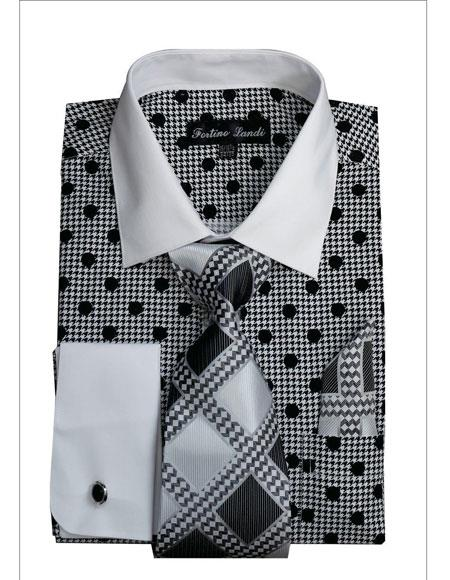 Black Polka Dot Pattern White Collared French Cuff Style Men's Dress Shirt
