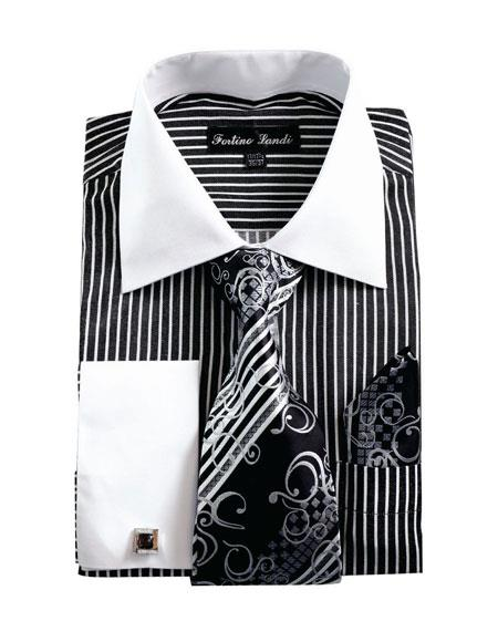 Buy CH2226 Mens White Collared French Cuffed Dress Black Shirt & Tie Set
