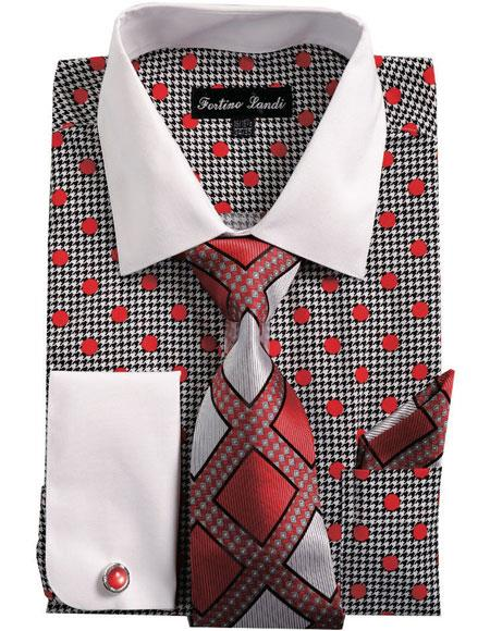 Buy CH2220 Mens White Collared French Cuffed Dress Red Shirt & Tie Set