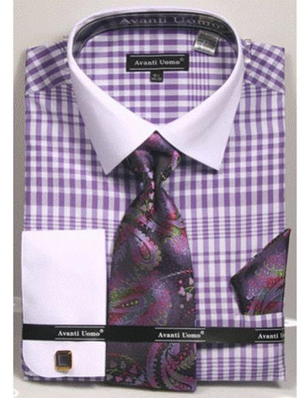 white Collared French Cuffed Lavender Shirt with Tie/Hanky/Cufflink Set Men's Dress Shirt