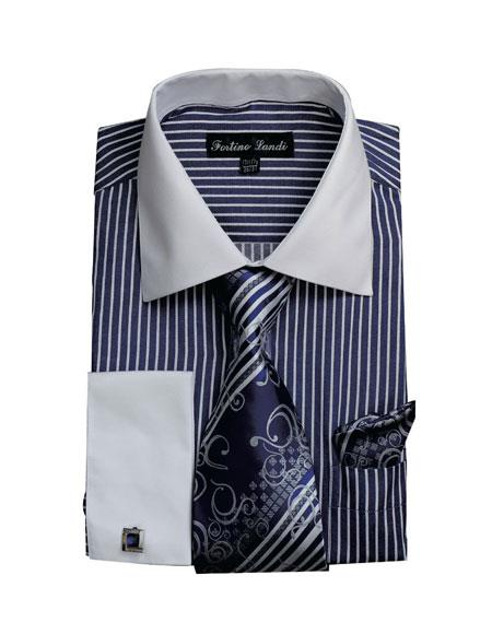 Buy CH2227 Mens White Collared French Cuffed Navy Dress Shirt & Tie Set