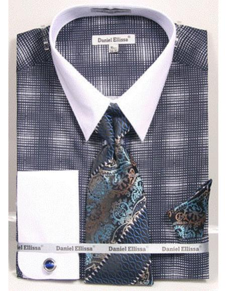 white Collared French Cuffed navy woven design Shirt with Tie/Hanky/Cufflink Mens Dress Shirt