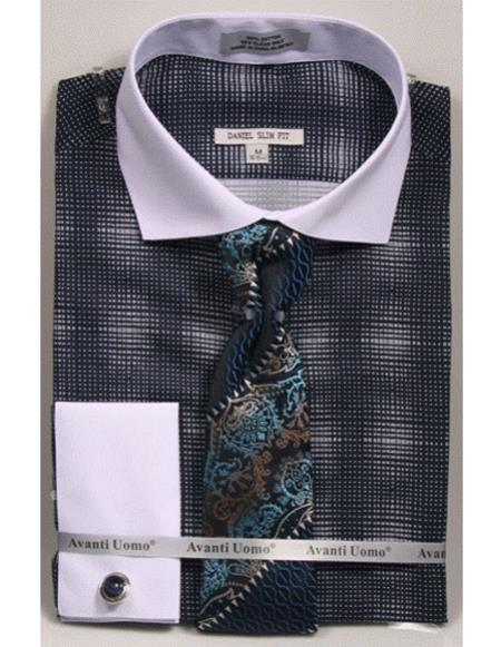 woven design white Collared French Cuffed navy Slim Fit Men's Dress Shirt