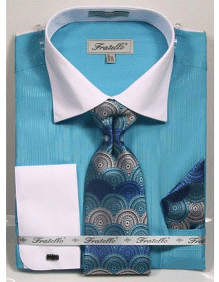 white Collared French Cuffed Turquoise Shirt with Tie/Hanky/Cufflink Set Mens Dress Shirt