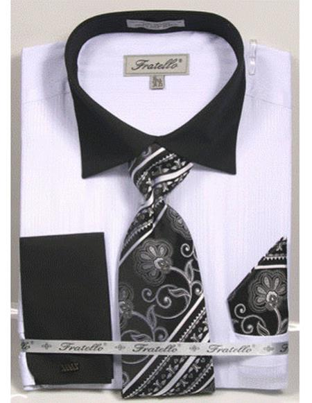 Black Collared French Cuffed white Dress Shirt with Tie/Hanky/Cufflink Set Mens Dress Shirt