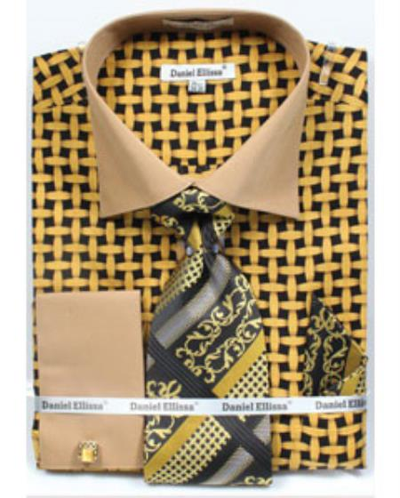 Black Mustard Mesh Pattern Tie Set Mens Dress Shirt