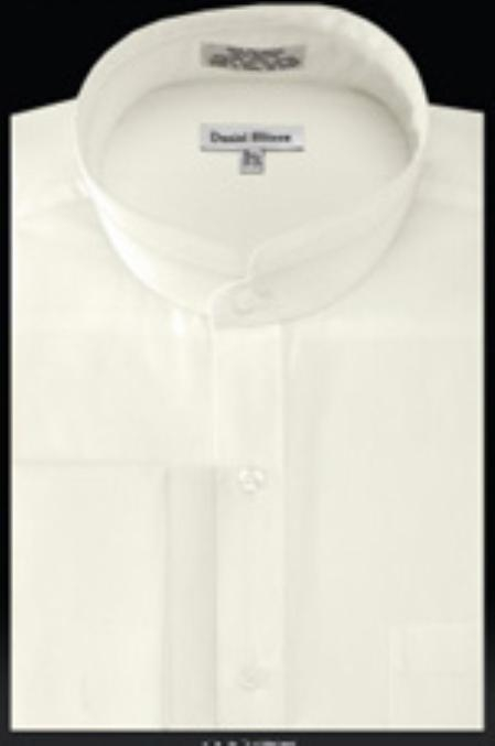 SKU#PZ209 French Cuff Banded Collar Shirt Ivory $39