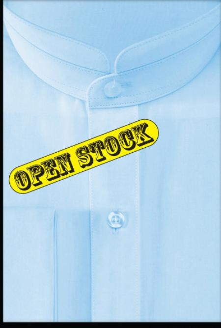 SKU#OZ534 French Cuff Banded Collar Shirt Light Blue $65