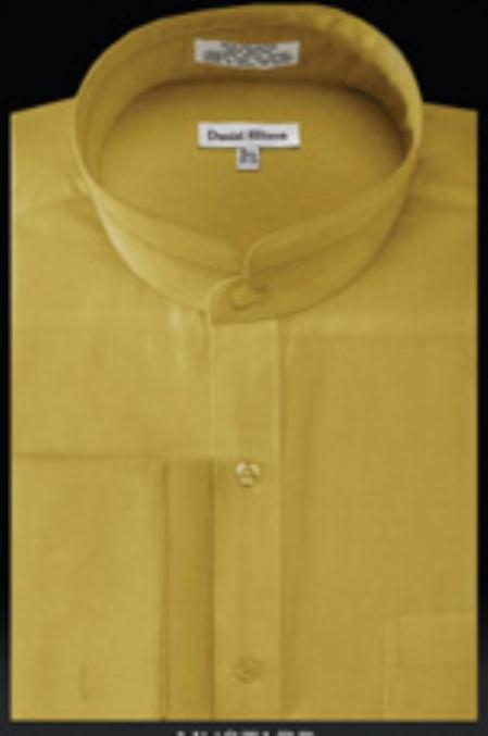 SKU#WB905 French Cuff Banded Collar Shirt Mustard $49