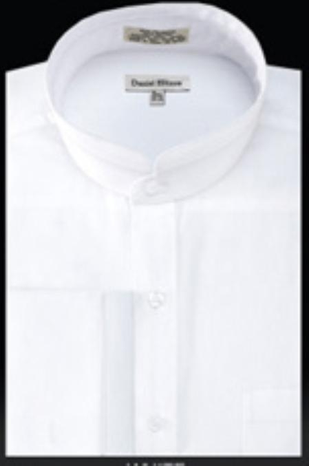 SKU#UZ284 French Cuff Banded Collar dress shirts Mandarin Collarless White $49
