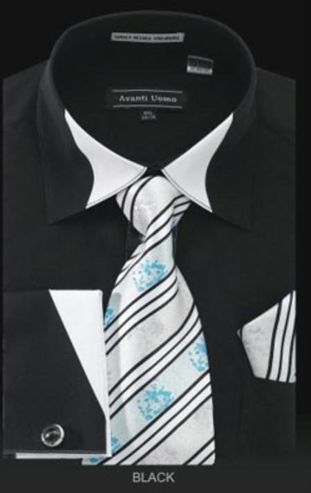 SKU#VZ301 French Cuff Dress Shirt Set Black $65