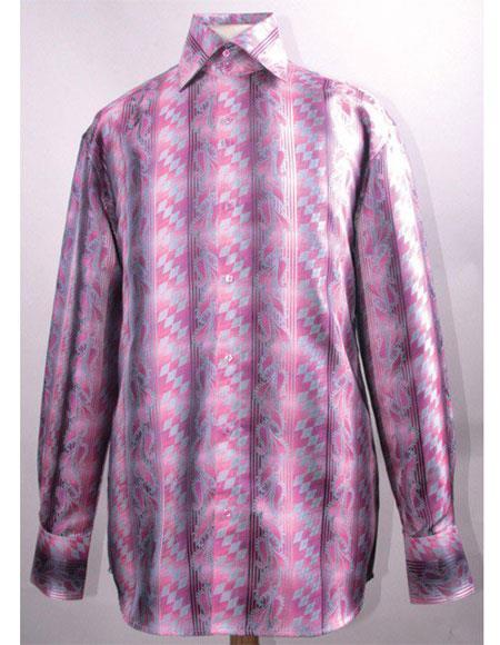 Men's High Collar Fashion ~ Shiny ~ Silky Fabric Fuchsia Diamond Pattern Club Clubbing Clubwear Shirts Night Club Outfit guys Wear For Men Clothing Fashion