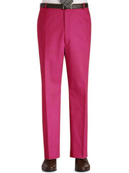 Stage Party Pants Trousers Flat Front Regular Rise Slacks - Fuchsia ~ fuschia ~ hot Pink
