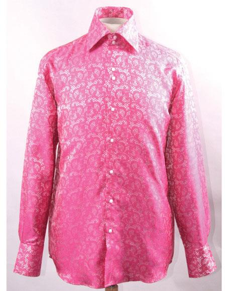 Men's High Collar Fashion ~ Shiny ~ Silky Fabric Fuchsia Unique Shiny Pattern Club Clubbing Clubwear Club Clubbing Clubwear Shirts Night Club Outfit guys Wear For Men Clothing Fashion