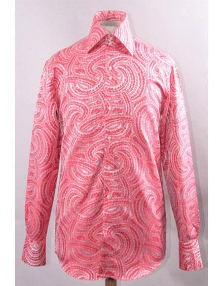 Mens Fuchsia High Collar Fashion ~ Shiny ~ Silky Fabric Braid Swirl Pattern Club Clubbing Clubwear Shirts