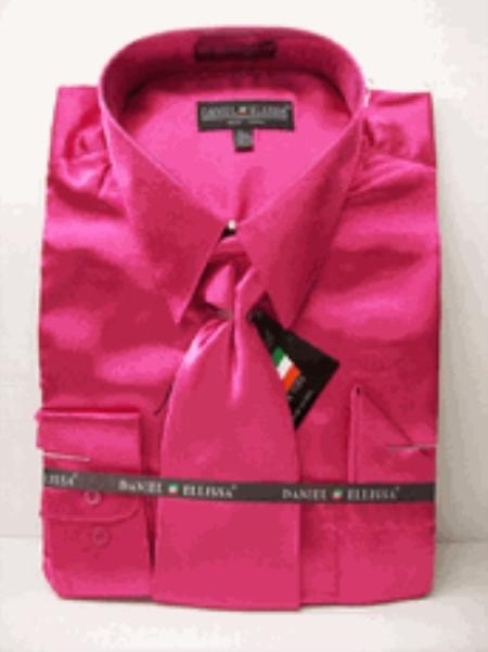 Men's New Fuchsia ~ fuschia ~ hot Pink Satin Dress Shirt Tie Combo Sh