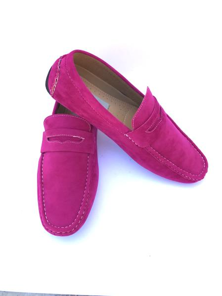 men's slip-on style solid fashionable loafers fuchsia ~ pink