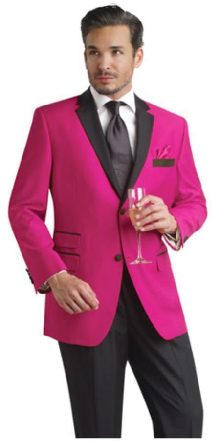 SKU#FHY99 fuchsia ~ hot Pink Two Button Notch Party Suit & Tuxedo & Blazer w/ Black Lapel