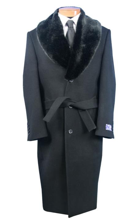 Mens Full Length Fur Collar Wool Overcoat Black