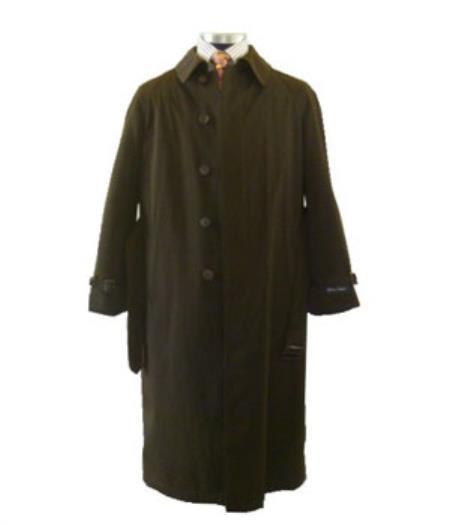 Men's Dress Coat Brown Full Length Vent Raincoat Online Discount Fashion Sale