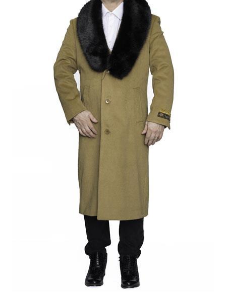 Mens Dress Coat Removable Fur Collar Full Length Wool Dress Top Coat / Overcoat in Camel Winter Mens Topcoat Sale