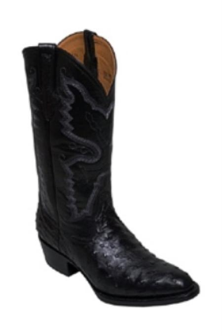 SKU#ZA818 Full Quill Ostrich in Black Medium Round Toe $349