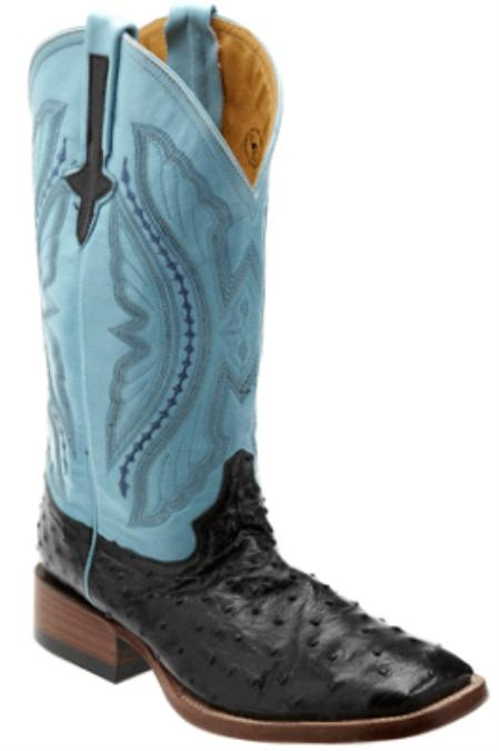 SKU#KZ3892 Full Quill Ostrich Black/turquoise ~ Light Blue Stage Party - S Toe