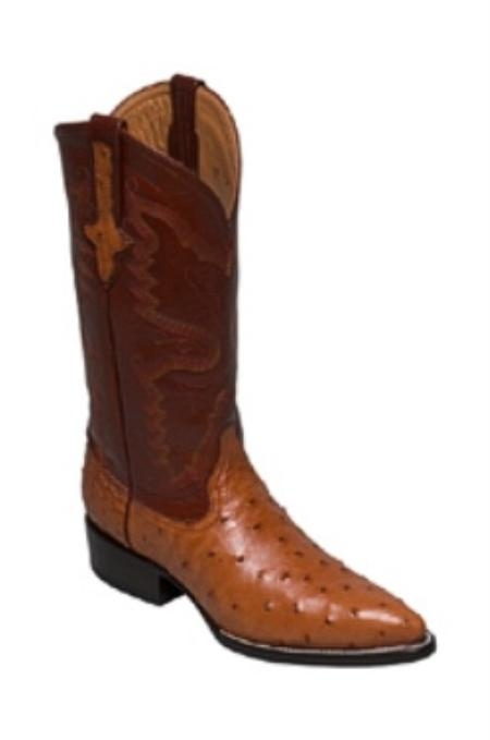 SKU#GL958 Full Quill Ostrich in Copper~Rust~Cognac Medium Round Toe