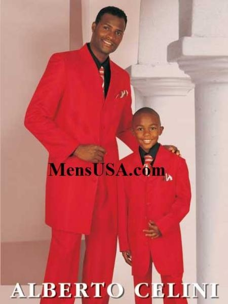 SKU# TZS284 Fun Father and Son Fashion Red Zoot Suits