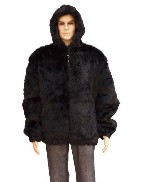 SKU#GD734 Mens Fur Black Pull Up Zipper Handmade Jacket