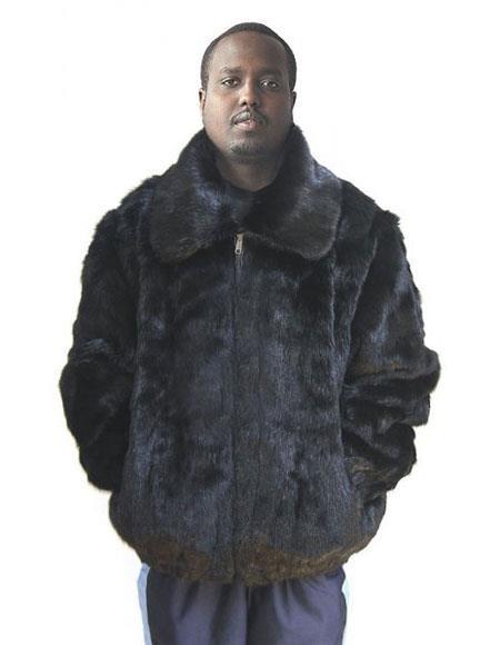 Mens Fur Black Genuine Full Skin Pull Up Zipper Jacket