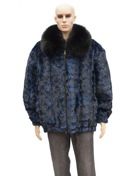 Mens Fur Blue Pull Up Zipper Sheared Genuine Mink Fox Collar Jacket