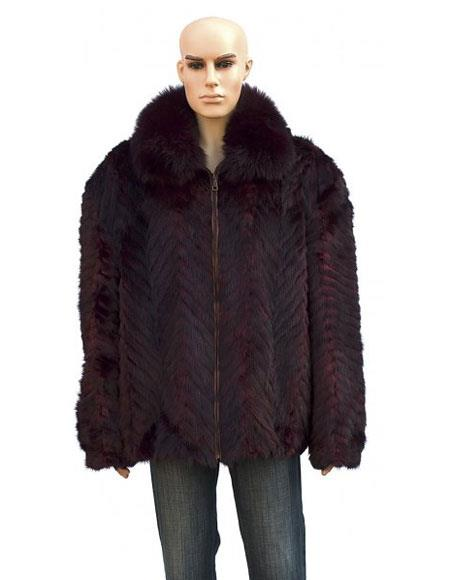 Mens Handmade Fur Burgundy ~ Wine ~ Maroon Color Pull Up Zipper Fox Collar Jacket