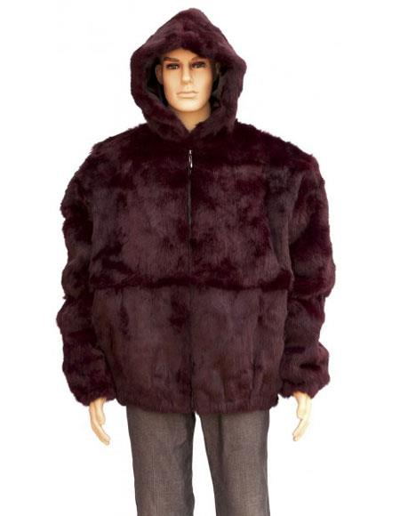 SKU#GD742 Mens Handmade Fur Burgundy ~ Wine ~ Maroon Color Full Skin Fox Collar Genuine Rabbit Jacket