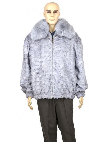Mens Fur Sapphire Genuine Mink With Full Skin Fox Collar Jacket