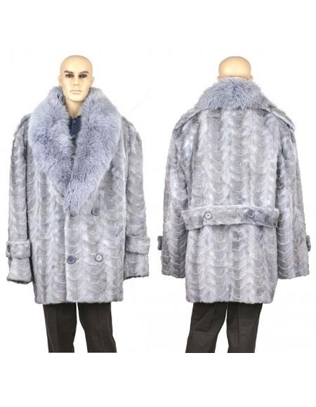 Buy GD891 Men's Fur Sapphire Genuine Mink Paws Pea Coat