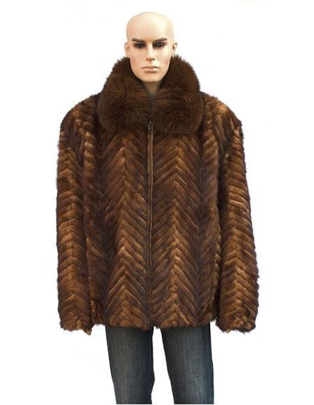 Mens Fur Whiskey Genuine Mink Fox Collar Pull Up Zipper Jacket
