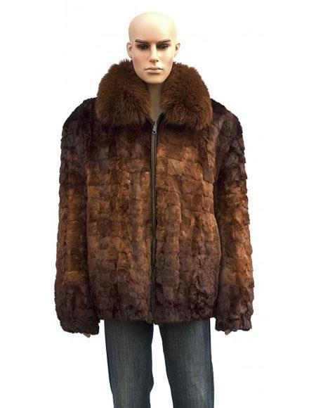 Mens Fur Genuine Mink Fox Collar Whiskey Jacket