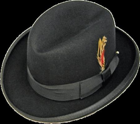 SKU# PKK913 GODFATHER NEW MENS BLACK 100% Wool Homburg Dress Hat 4201