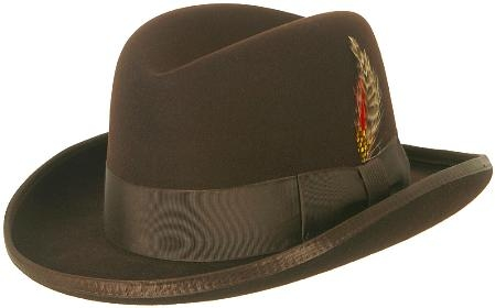 SKU#MAS87 GODFATHER NEW MENS Brown 100% Wool Homburg Dress Hat 4201