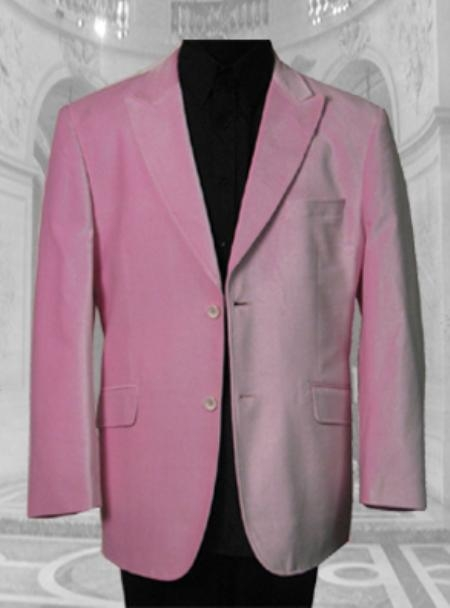 SKU# MOY193 JV100 GORGEOUS PINK Velvet SPORT JACKET ; 2 BUTTON ; SINGLE BREASTED; PEAK COLAR $139