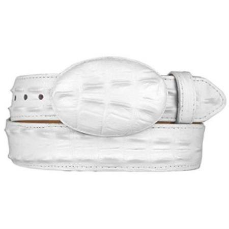 SKU#SM280 Gator ~ World Best Alligator ~ Gator Skin Print (Imitation) White Western Style Belt