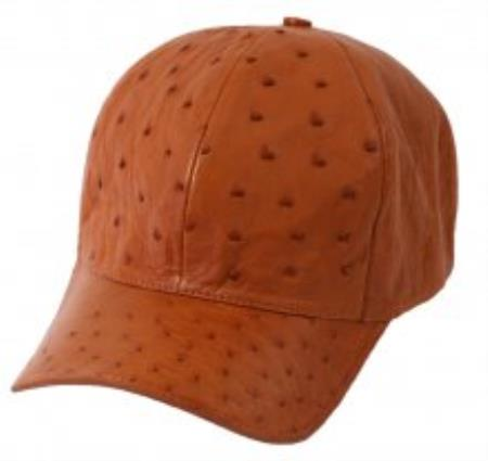 Genuine Ostrich World Best Alligator ~ Gator Skin Exotic Skin Baseball Cap Cognac