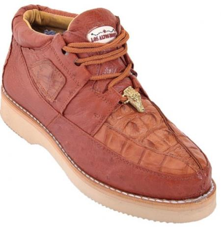 High Top Exotic Skin Authentic Genuine Skin Italian Tennis Dress Sneaker Shoes for Men Los Altos Cognac Genuine Crocodile ~ World Best Alligator ~ Gator Skin With Smooth Ostrich Casual Shoes