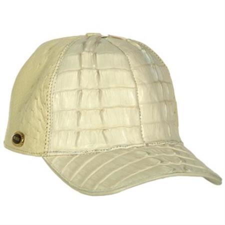 Genuine Ostrich World Best Alligator ~ Gator Skin Exotic Skin Baseball Cap Hueso
