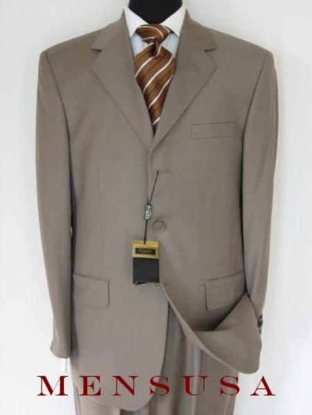 SKU# FK3 Genevie Light Weight Olive~Brown (Exclusive Color :Taupe) 3 Button Super 150s Wool $199