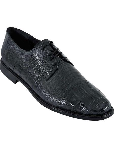 Men's Genuine Crocodile Belly And Teju Lizard Oxfords Style Los Altos Shoes Black