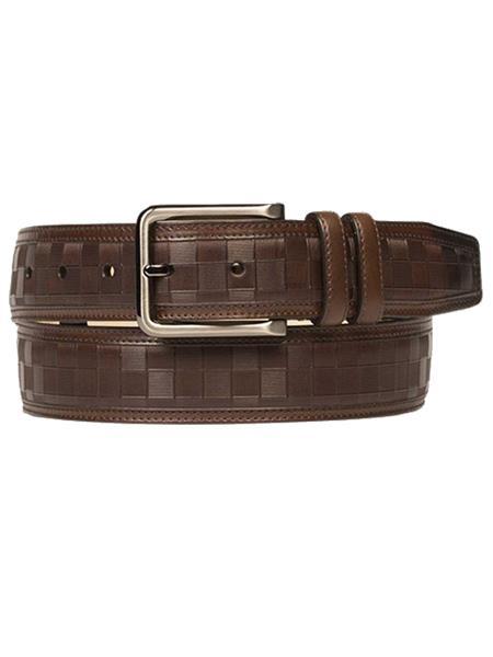 Mezlan Brand Mens Genuine Calfskin Cognac Skin Belt