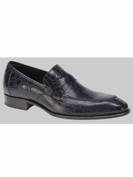 Genuine Crocodile Blue Loafer Shoes