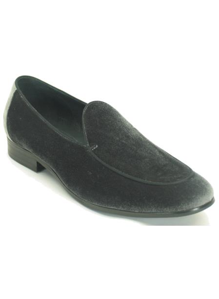 Carrucci Mens Grey Slip On Style Genuine Velvet Fashion Loafer Shoe